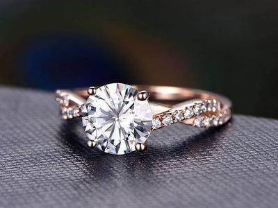 Artdeco 1.25 Carat Infinity Moissanite and Diamond Engagement Ring
