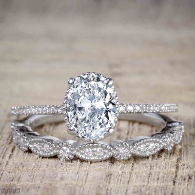 1.25 Carat Oval cut Wedding Set of Moissanite and Diamond in White Gold