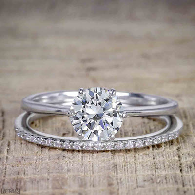 1.25 ct Moissanite and Diamond Wedding Ring Set in 10k White Gold