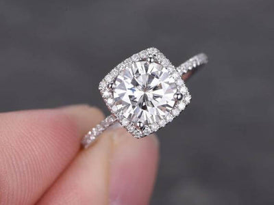 1.50 Carat Halo Moissanite and Diamond Engagement Ring in 10k White Gold