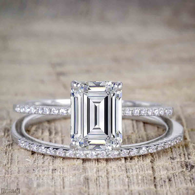 1.25 Carat Emerald cut Moissanite & Diamond Bridal Ring Set