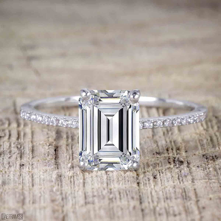 1.25 Carat Emerald cut Moissanite & Diamond Bridal Ring Set in White Gold