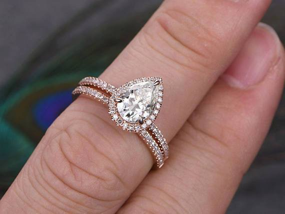 Perfect 2 Carat Pear cut Moissanite and Diamond Halo Weding Ring Set