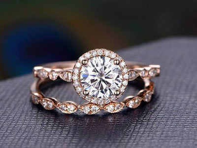 2 Carat Halo Moissanite and Diamond Wedding Ring set