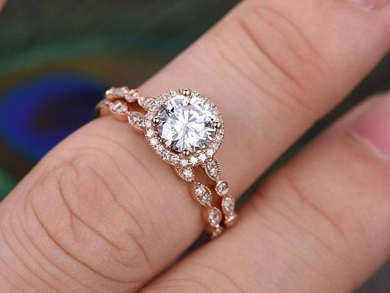 2 Carat Halo Moissanite and Diamond Wedding Ring set in 10k Rose Gold