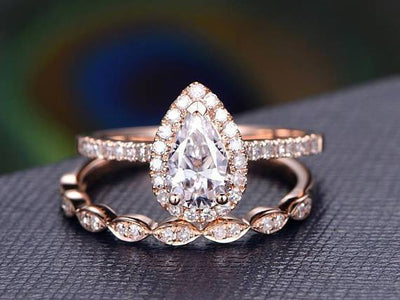 Best Seller 2 Carat Pear cut Moissanite and Diamond Bridal Set