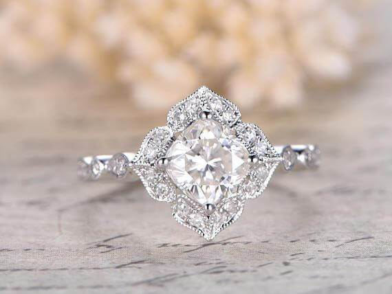 1.25 Ct Moissanite and Diamond Wedding Ring Cushion Cut