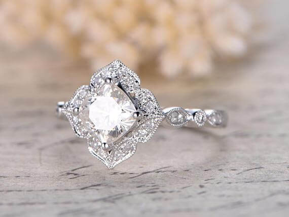 1.25 Ct Moissanite and Diamond Wedding Ring Cushion Cut in 10k White Gold