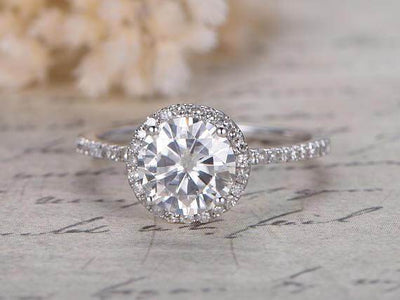 Classic 1.50 Carat Moissanite and Diamond Engagement Ring