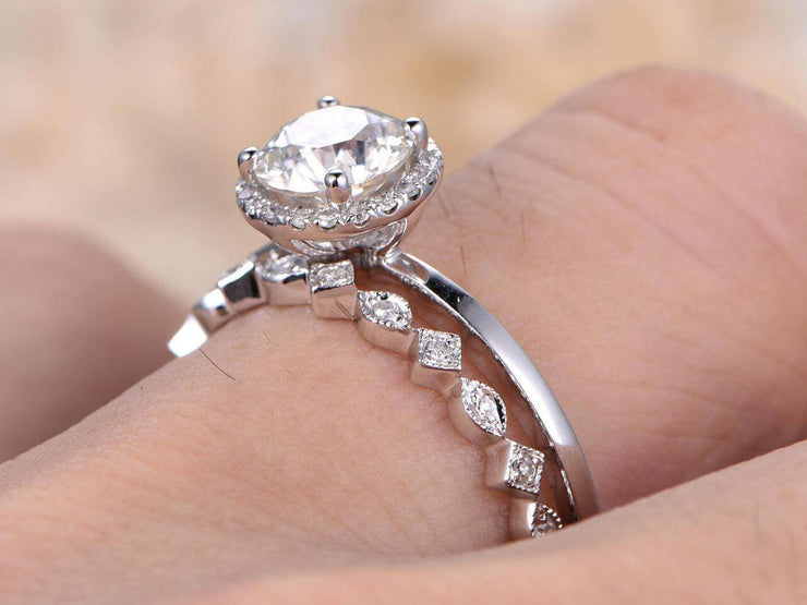 New Style 1.50 Carat Moissanite and Diamond Wedding Set in 10k White Gold