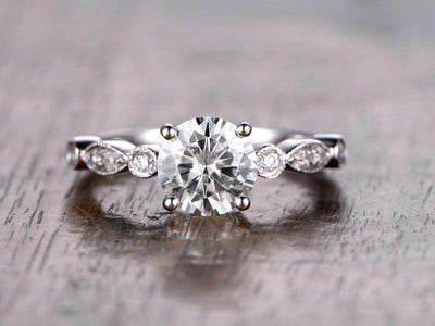Artdeco 1.25 Carat Moissanite and Diamond Engagement Ring in 10k White Gold