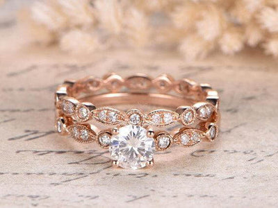1.50 Carat Moissanite and Diamond Wedding Ring Set in 10k Rose Gold
