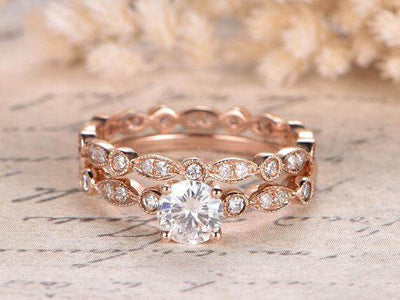 1.50 Carat Moissanite and Diamond Wedding Ring Set