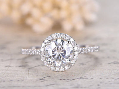 1.25 Carat Round cut Halo Moissanite Engagement Ring Set in 10k White Gold