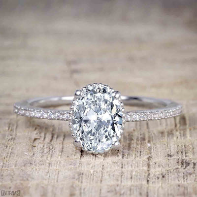 1.25 Carat Solitiare Wedding Ring Oval cut Moissanite & Diamond