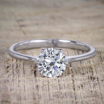 Classic Round Cut Solitaire 1 Carat Moissanite Engagement Ring