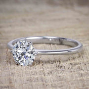 Classic Round Cut Solitaire 1 Carat Moissanite Engagement Ring on 10k White Gold