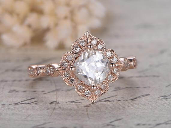 1.25 Carat Round cut Halo Moissanite and Diamond Engagement Ring