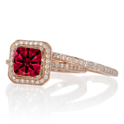 2 Carat Beautiful Ruby and Moissanite Diamond Halo Wedding Ring Set on 10k White Gold