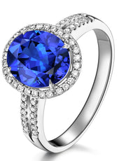 2 Carat Beautiful Sapphire and Moissanite Diamond Halo Engagement Ring for Her in White Gold