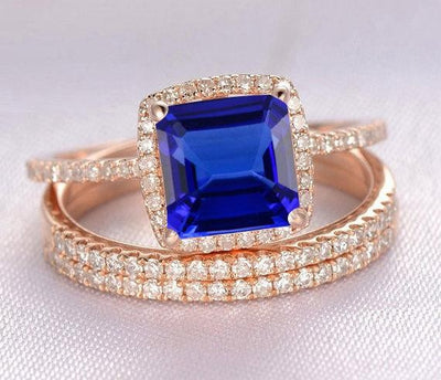 2 carat Blue Sapphire and Moissanite Diamond Halo trio wedding ring Bridal Set in 10k Rose Gold