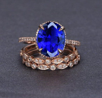 2 carat Sapphire and Moissanite Diamond Halo trio wedding ring Bridal Set in 10k Rose Gold