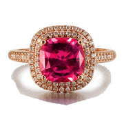 2 Carat cushion cut Ruby and Moissanite Diamond Halo Engagement Ring in Yellow Gold