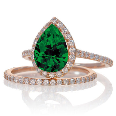 2 ct Emerald and Moissanite Diamond Halo Bridal Ring Set on 10k Rose Gold