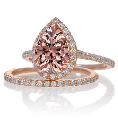 2 Carat Morganite and Diamond Halo Bridal Ring Set