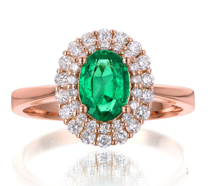 2 Carat Emerald and Moissanite Diamond Halo Engagement Ring in Rose Gold