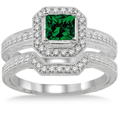 2 Carat Emerald Antique Halo Bridal set on 10k White Gold