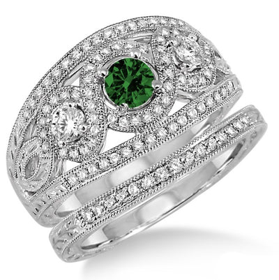 2 Carat Emerald Trilogy set Ring on 10k White Gold