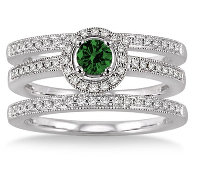 2 Carat Emerald Trio set Halo Ring on 10k White Gold