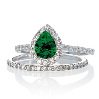 2 Carat Pear Cut Emerald Halo Bridal Set for Woman on 10k White Gold