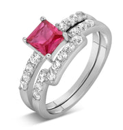 2 Carat Ruby and Moissanite Diamond Wedding Ring Set in White Gold