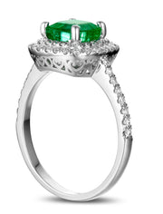 2 Carat princess cut Emerald and Moissanite Diamond Double Halo Engagement Ring in White Gold