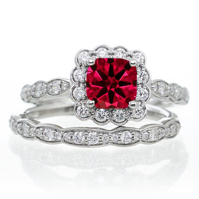 2 Carat Ruby and Moissanite Diamond Halo Bridal Ring Set on 10k Rose Gold