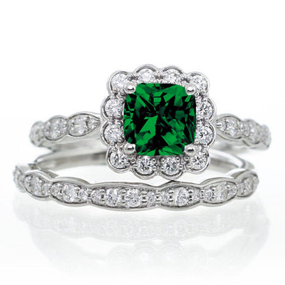 2 Carat Princess Cut Emerald and Moissanite Diamond Wedding Ring set on 10k White Gold