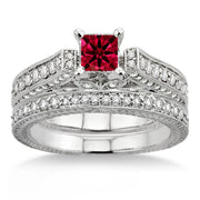 2 Carat Ruby 2.10 Carat Ruby Antique Bridal Set Engagement Ring on 10k White Gold
