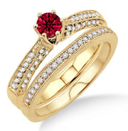 2 Carat Ruby Antique Bridal Set Engagement Ring on 10k Yellow Gold