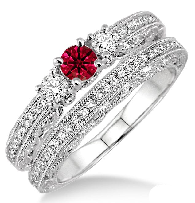 2 Carat Ruby Antique Bridal set on 10k White Gold