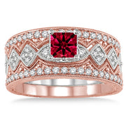 2 Carat Ruby Antique Trio Bridal Set Engagement Ring on 10k White Gold