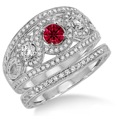 2 Carat Ruby Trilogy set Ring on 10k White Gold