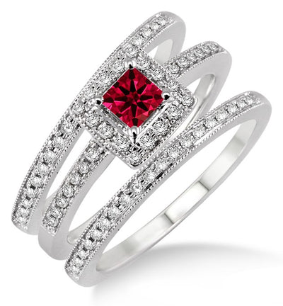 2 Carat Ruby Trio set Halo Ring on 10k White Gold
