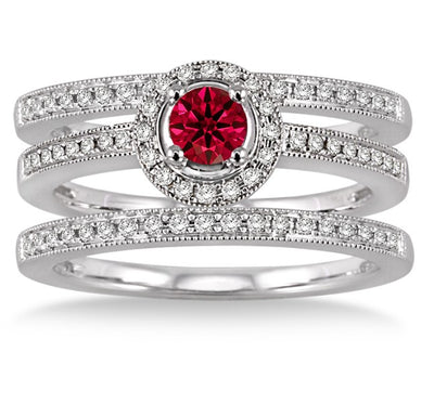 2 ct Ruby Trio set Halo Ring on 10k White Gold