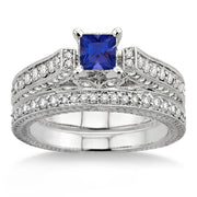 2 Carat Sapphire and Moissanite Diamond Antique Bridal Set Engagement Ring on 10k White Gold