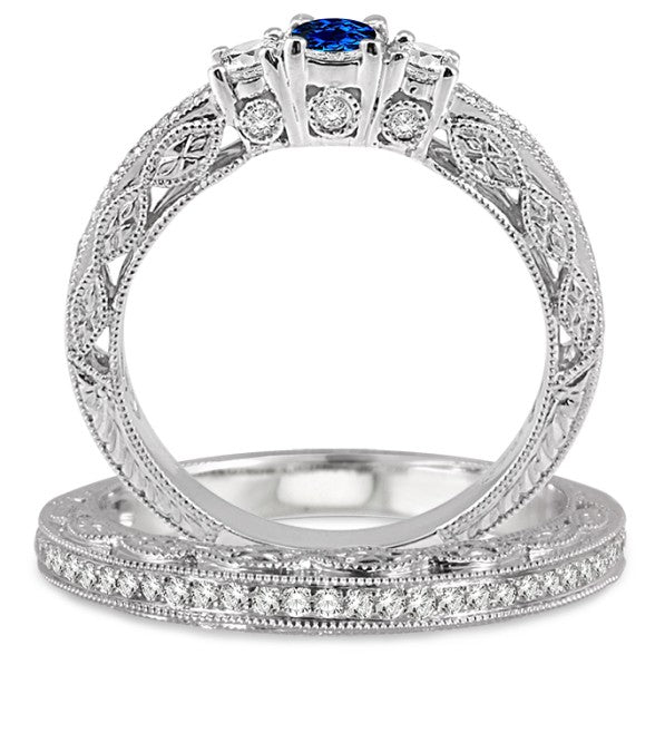 2 Carat Sapphire and Moissanite Diamond Antique Bridal set on 10k White Gold