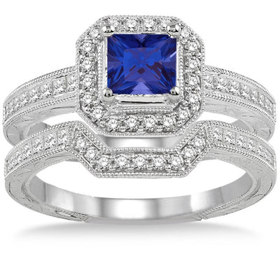 2 Carat Sapphire and Moissanite Diamond Antique Halo Bridal set on 10k White Gold