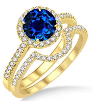2 Carat Sapphire and Moissanite Diamond Halo Bridal Set Engagement Ring on 10k Yellow Gold