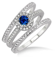 2 Carat Sapphire Trio set Halo Ring on 10k White Gold